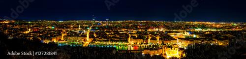 Wall Murals Prague Panorama of Lyon at Night, France