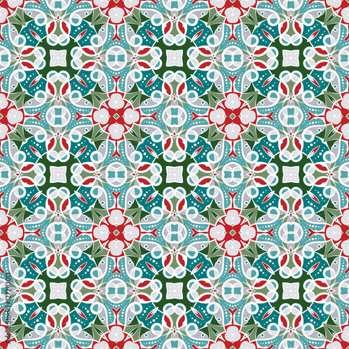 Printed kitchen splashbacks Moroccan Tiles Pattern in Christmas style