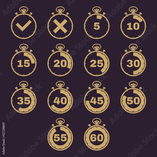 The stopwatch icon, set of 14 icons  Clock and watch, timer