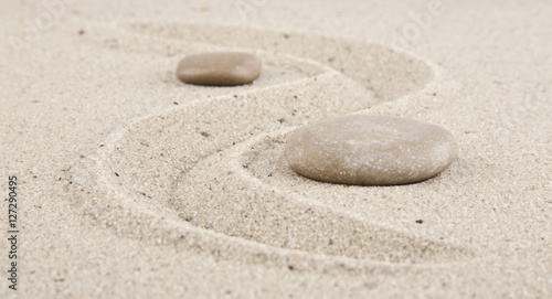Foto op Plexiglas Stenen in het Zand background with stones and sand for meditation and relaxation to