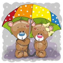 Two Cute Cartoon Bears With Umbrella