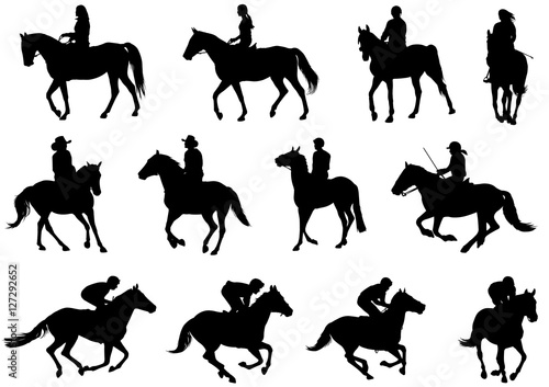 people riding horses silhouettes - vector Tapéta, Fotótapéta