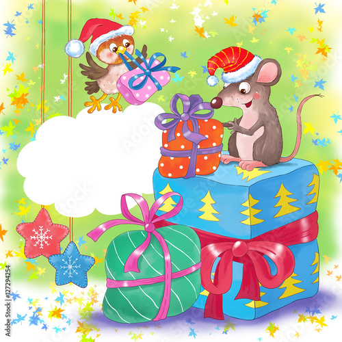 Hibou Christmas greeting card. Cute rat and sparrow with Christmas presents.