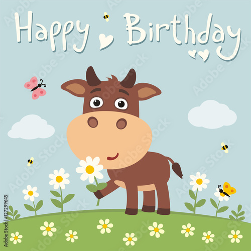 Deurstickers Pony Happy birthday! Cute cow with flower on meadow. Birthday card.