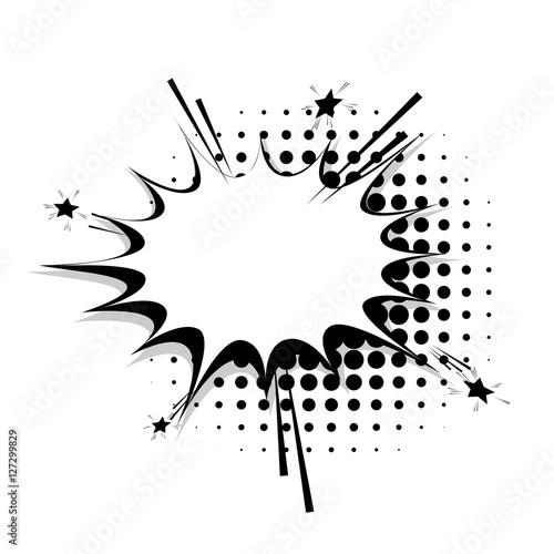 Blank template comic speech star bubble halftone dot background style pop art. Comic dialog empty cloud, space text style pop art. Creative composition idea conversation comic sketch explosion line
