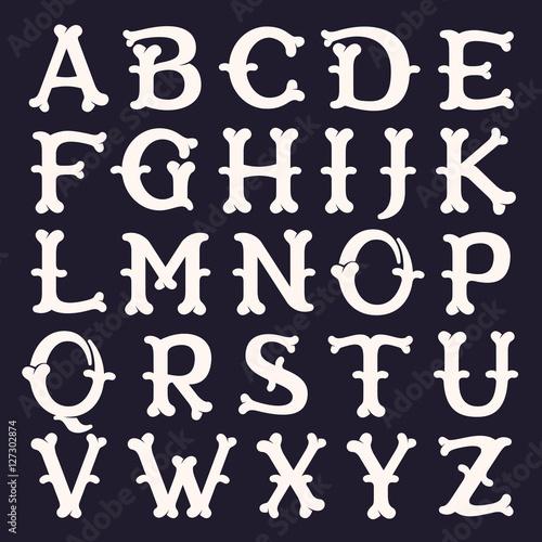 Photo Alphabet made out of bones.