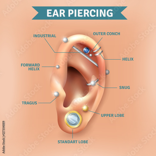 Fényképezés Ear Piercing Types Positions Background Poster