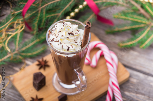 Spoed Foto op Canvas Chocolade Hot chocolate with whipped cream. Christmas table.