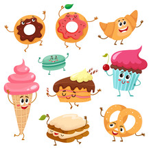 Set Of Funny Dessert Character...