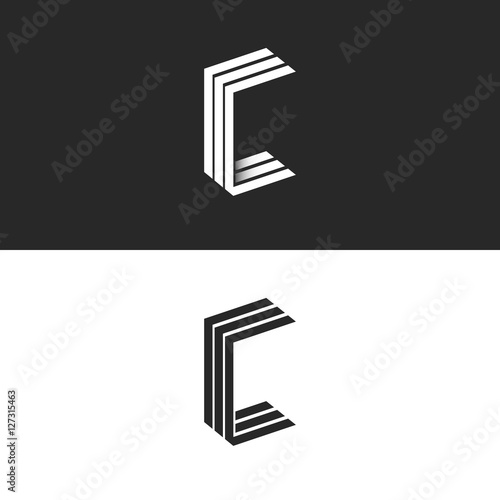 Idea 3D logo C letter isometric monogram, group initials CCC black and white simple emblem, parallel lines geometric shape