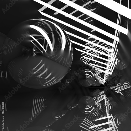 Black tunnel with lights and mirror ball