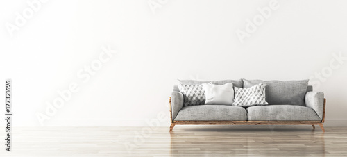 Photo Divano industrial grigio con cuscini in stanza con parquet render