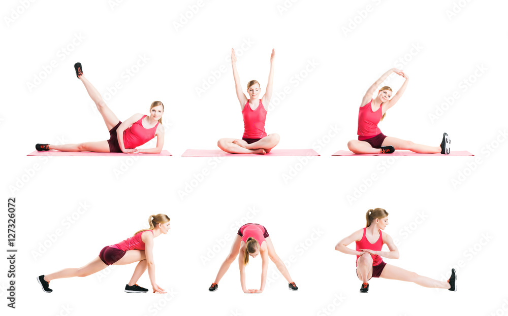 Fototapety, obrazy: Young and fit blond woman working out on white
