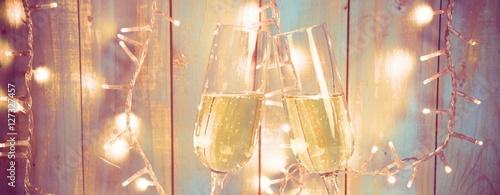 Photo  Silvester Hintergrund - zwei Sektgläser