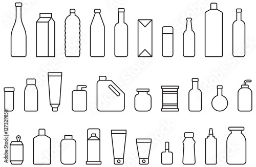 BOTTLES & CONTAINERS outline icons Fototapet