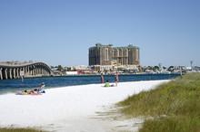 Destin Florida USA - October 2016 - The Military Beach On Okaloosa Island Overlooks Destin A Holiday Resort On The Panhandle Regiion Of Florida