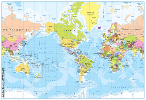 World Map - America in center - Bathymetry Wallpaper Mural