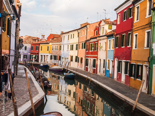 Fotografering  colorful street of burano island in venice, italy