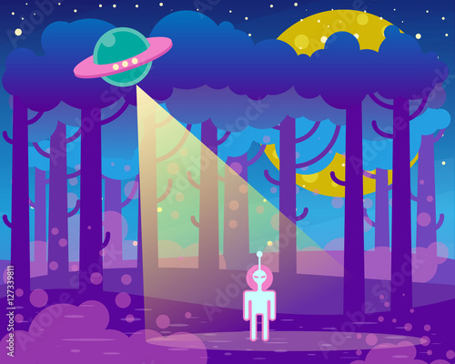 Flat illustration about night landscape, ufo elements - alien and spaceship
