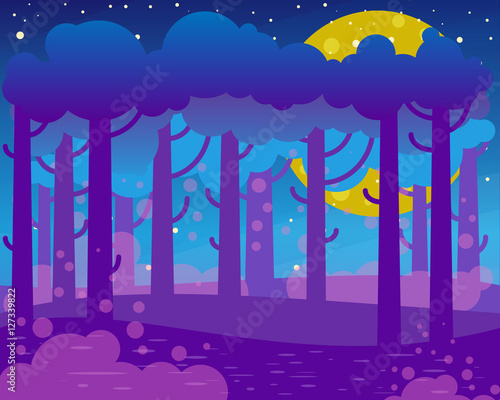 Spoed Foto op Canvas Violet Flat night landscape with big moon and forest