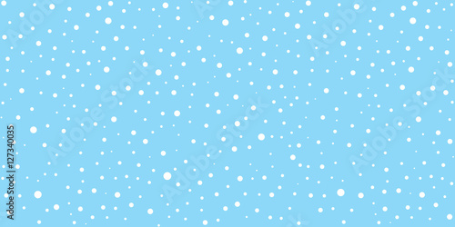 Fotomural White snow falling on sky blue background seamless pattern