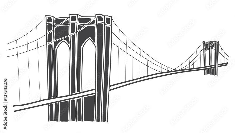 Fototapety, obrazy: illustration of brooklyn bridge, new york