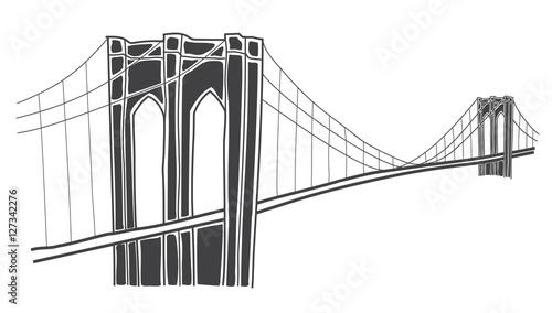 illustration of brooklyn bridge, new york