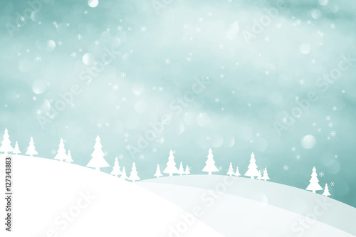 Fotobehang Lichtblauw Winter season landscape with trees and hills. Christmas and New Year greeting card illustration background.