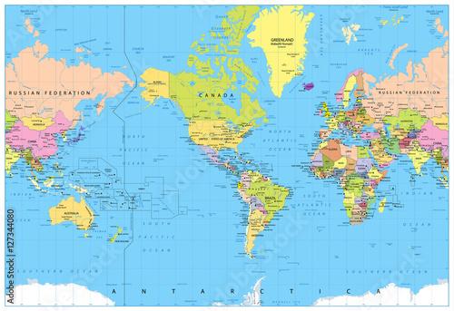 In de dag Wereldkaart America Centered Political World Map