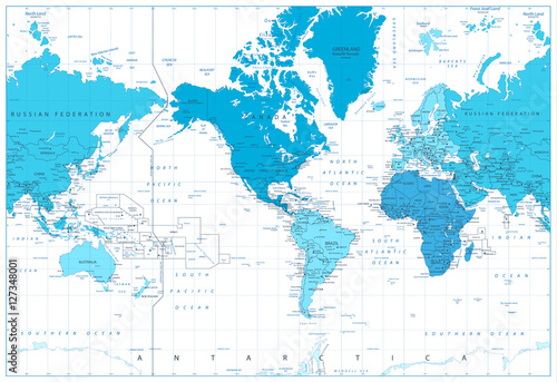 Fotografia  World map continents in colors of blue. America in center