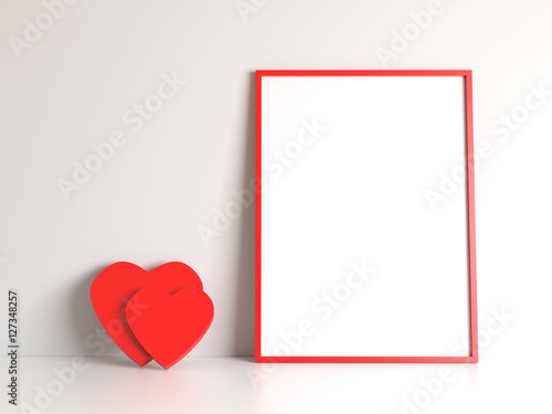 White blank with free copy space mock up poster with red frame and ...