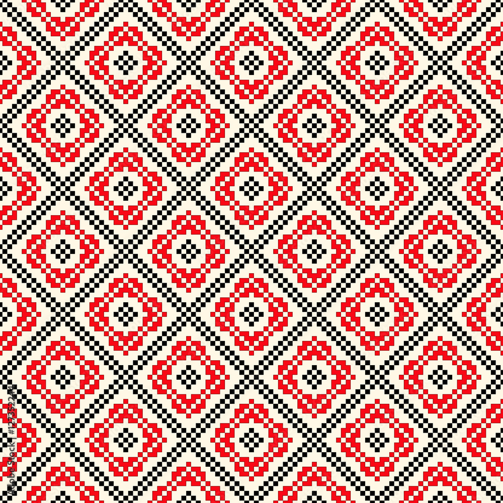 Seamless pattern with ethnic geometric abstract ornament. Cross stitch slavic embroidery motifs.