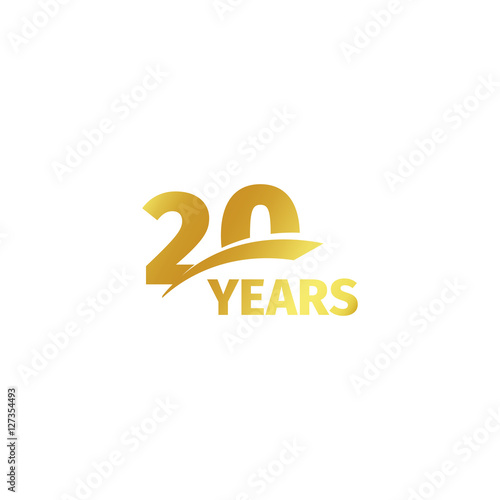 Fotografia  Isolated abstract golden 20th anniversary logo on white background