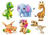 Fototapeta Dinusie - Funny animal set. Happy bunny, rabbit, cute unicorn, small dragon, baby elephant, giraffe, dinosaur. 3d vector icon