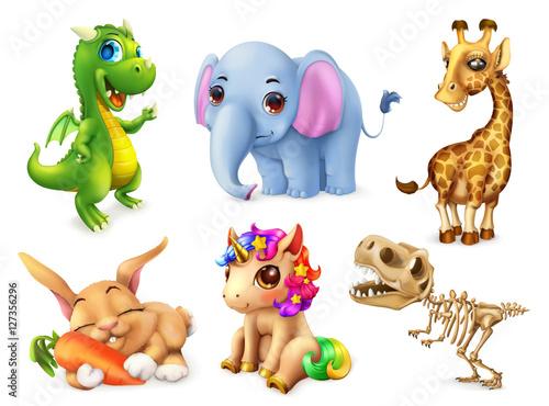 Zabawny zestaw zwierząt. Szczęśliwy króliczek, królik, ładny jednorożec, mały smok, słoniątko, żyrafa, dinozaur. Ikona wektor 3D