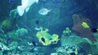 Aquarium with a large amount of tropical fish large and small. The Puffer Fish.
