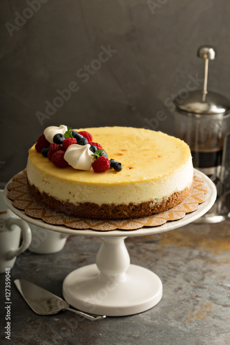 Fotografie, Obraz  New York cheesecake on a cake stand