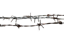 Barbed Wire On A White Background