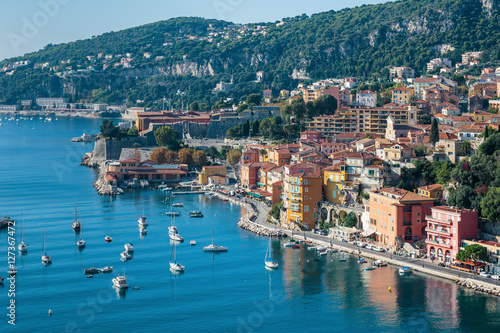 Fotobehang Liguria Panoramic view of Cote d'Azur near the town of Villefranche-sur-
