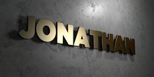 Jonathan - Gold Sign Mounted On Glossy Marble Wall  - 3D Rendered Royalty Free Stock Illustration. This Image Can Be Used For An Online Website Banner Ad Or A Print Postcard.