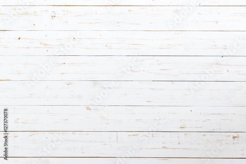 Poster Bois White wooden planks table - background