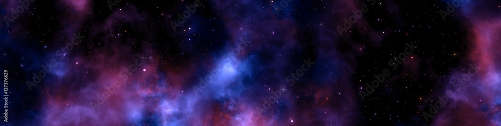 Fototapety, obrazy: Star field voyage with cosmic space nebula, digital art illustration work.