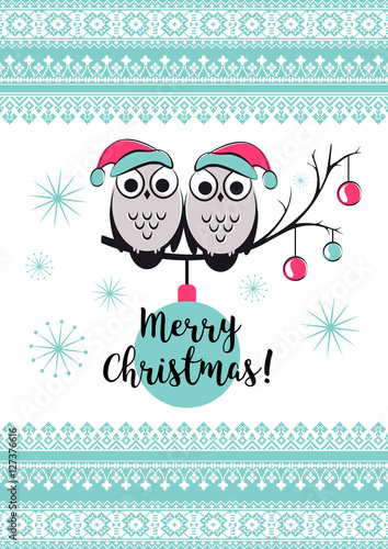 template vector card with cute owls on a tree branch merry