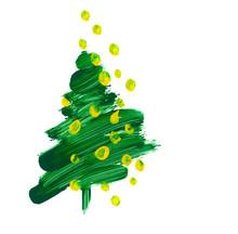 Brush Stroke Green Christmas Tree. Oil Paint Hand Drawn Illustra