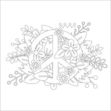 Coloring Page Design With Peace Symbol And Flowers. Vector Ilustration