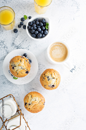 Fotografie, Obraz  Bright and airy breakfast with blueberry muffin