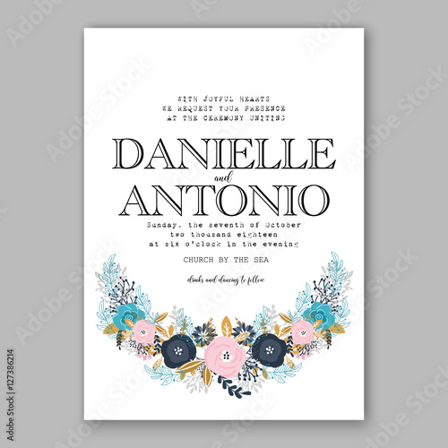 Wedding Invitation Template With Watercolor Winter Flower Christmas
