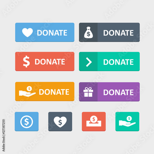 Fotografía  Donate button vector set