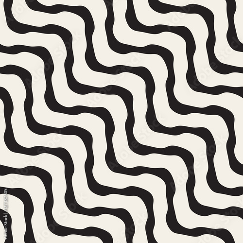 Fototapety, obrazy: Vector Seamless Black and White Wavy Lines Pattern