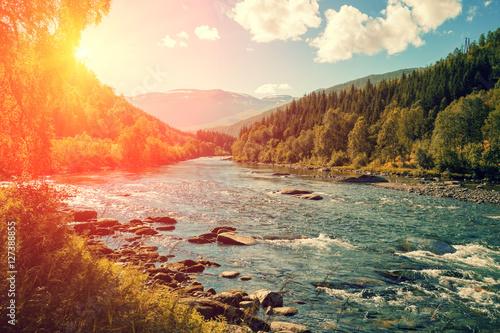Mountain river at sunset. Norway Wallpaper Mural